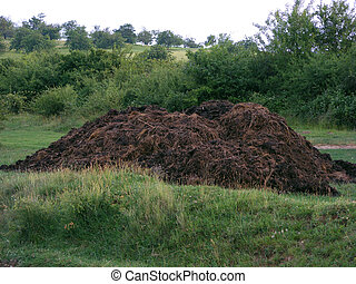 a compost pile in the middle of the field in mountains