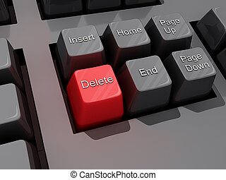 Delete Key - A computer Keyboard close up of a Red Delete...