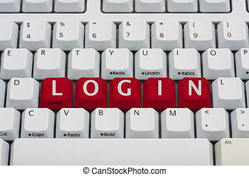 Login Online - A computer keyboard with red keys spelling...