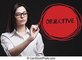 a, conceito, de, marketing, tecnologia, internet, e, a, network., um, jovem, homem negócios, mostra, que, é, importante, para, business:, objetivo