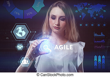 a, conceito, de, negócio, tecnologia, internet, e, a, network., um, jovem, empresário, trabalhar, um, virtual, tela, de, futuro, e, vê, a, inscription:, ágil