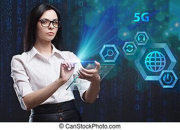 a, conceito, de, negócio, tecnologia, internet, e, a, network., um, jovem, empresário, trabalhar, um, virtual, tela, de, futuro, e, vê, a, inscription:, 5g