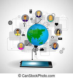 a, conceito, de, social, rede