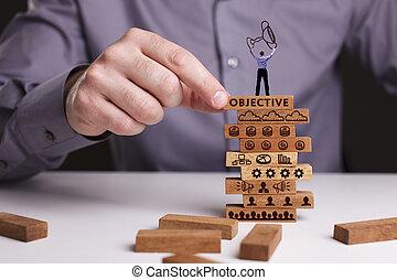 a, conceito, de, tecnologia, internet, e, a, network., homem negócios, mostra, um, trabalhando, modelo, de, business:, objetivo