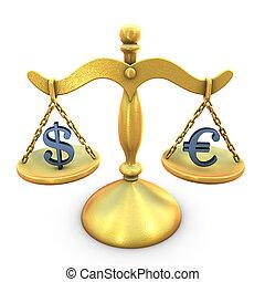 A concept of Dollar Euro balance