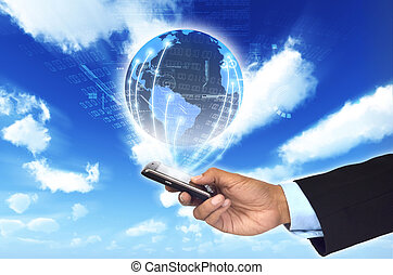 A concept of how a smart phone can connect a businessman to a worldwide information netwrok.