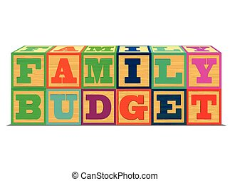 A conceptual illustration of Family Budget in Alphabet Blocks