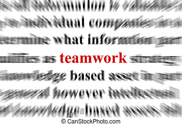 teamwork - A conceptual image with the focus on the word ...