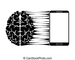 A conceptual sign or logo showing a person s dependence on a smartphone, gadget or the Internet. Strong communication of the brain and new technologies.
