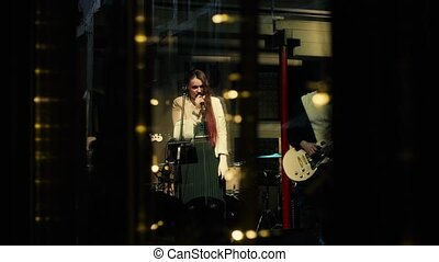A concert of a music group in a club in Moscow