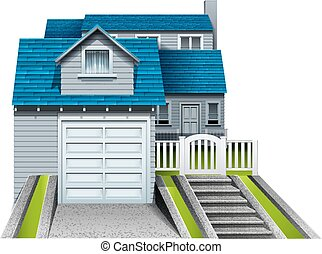 A concrete house with an attached garage on a white background