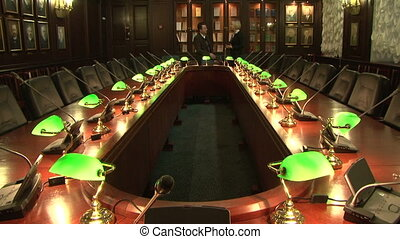 A conference table with lamps