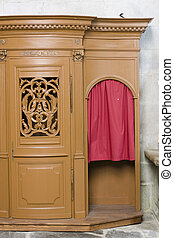 a confession booth in a church