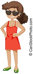 A confident girl in red dress and wearing sunglasses with standing pose cartoon isolated