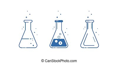 A conical flask. Icons set. Equipment for chemical laboratory. Line design. Vector
