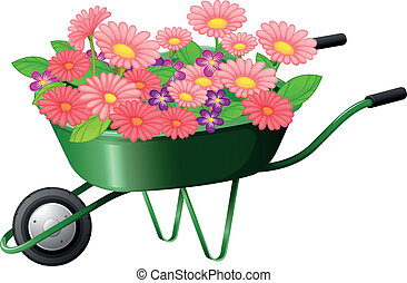 A construction cart with lots of flowers - Illustration of a...