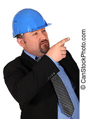 a construction manager pointing his finger
