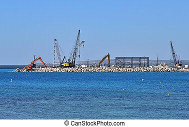 Construction of pier on the sea coast