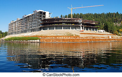 A Construction Site on the Shore of a Mountain Lake at Coeur d'Alene Idaho USA