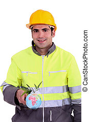 A construction worker promoting ecology.