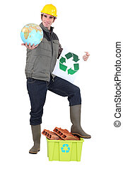 A construction worker promoting recycling.