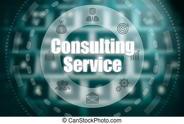 A consulting service concept on a futuristic computer display over a blured image of a keyboard.