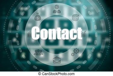 A contact concept on a futuristic computer display over a...