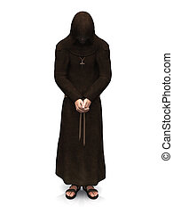 A contemplating christian monk. - 3d render of a christian...