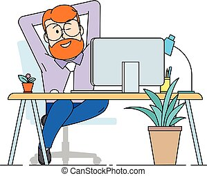 A contented man sits comfortably stretched out in an armchair.