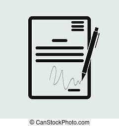 a, contrato, icon., acordo, e, assinatura, pacto, acordo,...