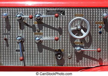 a, controle, equipamento, de, caminhão bombeiros