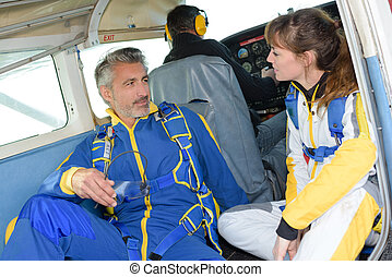 a conversation in the airplane