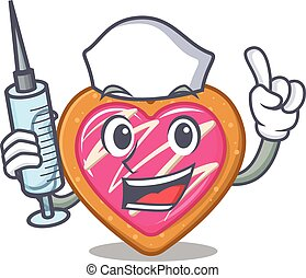 A cookie heart hospitable Nurse character with a syringe