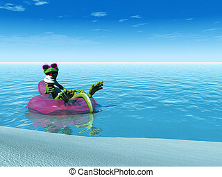 A cool cartoon gecko eating an ice cream while floating on a bathing ring in the  ocean on a sunny day.