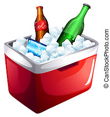 A cooler with softdrinks - Illustration of a cooler with...