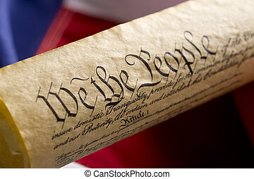 A copy of the United States Constitution on an Amercan Flag Background