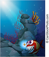 A coral reef under the sea with a piranha