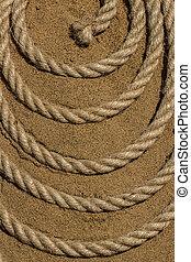 a, corda, ligado, a, mar, areia