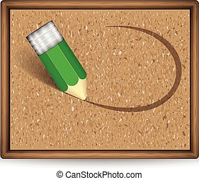 A cork board with pencil