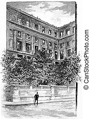 A corner of the facade, vintage engraving.