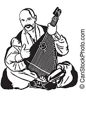 Cossack Playing A Musical Instrument Kobza