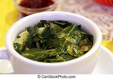 A coup of tee with Coca Leaves