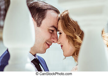 A couple at the registry office - Portrait of happy man and...