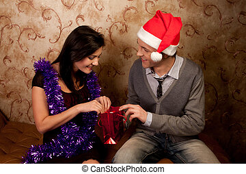 A couple celebrates Christmas