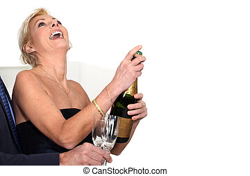 A couple celebrating.