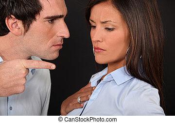 A couple having an argument.