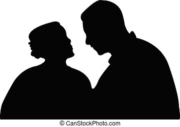 a couple head silhouette