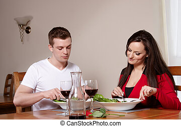 A couple in a restaurant