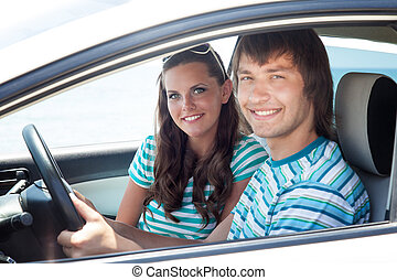 A couple in the car