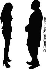 a couple making chat, silhouette vector